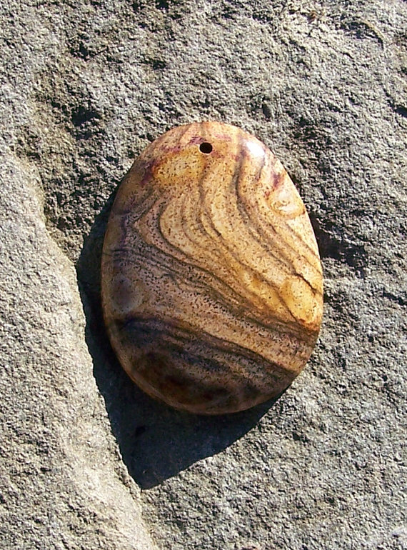 Picture Jasper Gemstone Focal Bead 3082012