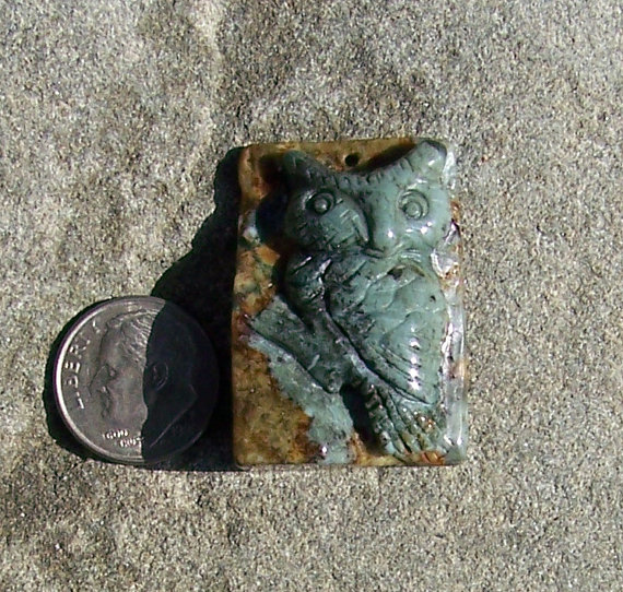 Carved Agate Owl Focal Bead 612012